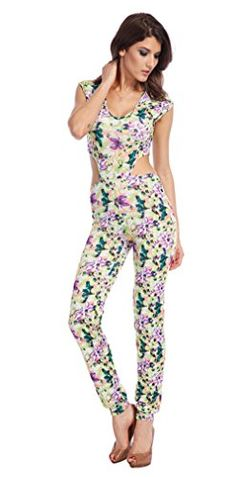a2d28491c16 OUCHI Women Sexy Short Sleeve Retro Floral Hollow Club Party Romper Jumpsuit  L Multicolor  gt