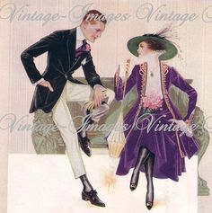 Vintage Edwardian Fashion Man and Lady on Bench Fantastic Image Download