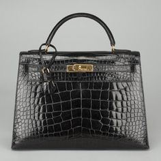 AUTH HERMES Noir Black Alligator 32 cm Kelly Sellier Handbag GHW IN BOX FL829 Buy It Now $31,999.00