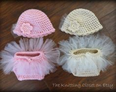 Newborn Baby Photo Prop - Crochet Diaper Cover Pattern and Hat Pattern - Soaker Pattern - Tutu - Ballet