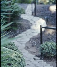 concrete paver path faster than laying stones. Paver Pathway, Flagstone, Concrete Path, Grandmas Garden, Outdoor Spaces, Outdoor Ideas, Garden Paths, Pathways, Curb Appeal
