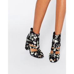 Lost Ink Denny Floral Cut Out Heeled Ankle Boots ($58) ❤ liked on Polyvore featuring shoes, boots, ankle booties, multi, block-heel ankle boots, cut out heel booties, cutout bootie, cut out ankle booties and high heel ankle booties