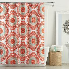 coral, grey, light blue shower curtain. bed bath and beyond