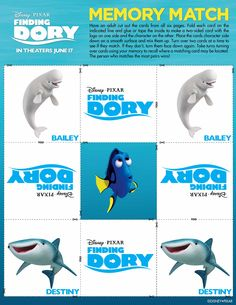 Disney/Pixar's Finding Dory swims into theatres June Disney Movies, Disney Pixar, Early Childhood Activities, Disney Printables, Keep Swimming, Finding Dory, One Sided, Movie Tv, Classroom