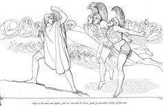 John Flaxman - Ulysse descend aux Enfers (1810)