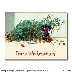 Lustiger Vintager Weihnachtsbaum mit einer Dackel Postkarten