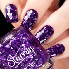 Starrily Purplexi Glass is a glitter topper with multidimensional purple flakes in a clear base. This nail polish is designed and made in the USA! Application:
