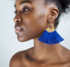 Boho Tassel Earrings Boho Gypsy, Bohemian, Tassel Earrings, Drop Earrings, Beautiful Soul, Electric Blue, Diesel, Artisan, Handmade