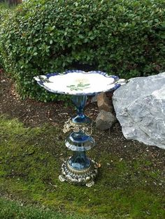 Vintage glass bird bath  www.facebook.com/singlemommymadness
