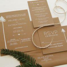 rustic letterpress wedding invitation | #letterpress #weddinginvitation #weddingplanning #redwoods #handdrawn #savethedate #whiteonkraft #foilstamping #woodsywedding