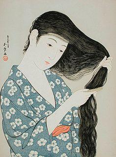 Woman Combing her Hair. Ukiyo-e woodblock print, 1920, Japan, by artist Hashiguchi Goyo