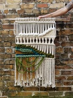 Emerald Macrame Wall Hanging by MossHound Designs - Gemstone Collection #macrame #macramewallhanging #emerald #gemstones