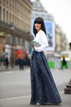 beautiful blue maxi #fashion #street-style #accessories