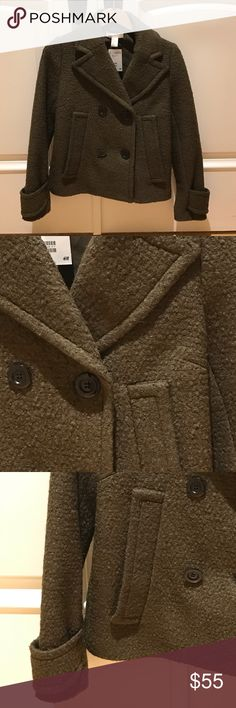 H&M Wool Pea Coat🎉NEW IN STORE Now!♠️ H&M Wool Pea Coat. Brand New With tags!  54% polyester 54% Wool. Fully lined, 100% polyester lining. Short Double breasted jacket, lapels, side  pockets, hits at waist. Color is khaki green. Gorgeous!!  Fits true to size with room to wear over a sweater. 🎉BRAND NEW Winter 2016🎉. 🚫EXCLUDED from bundle discount 🚫No TRADES. Currently sold for $69.99 plus tax H&M Jackets & Coats Pea Coats