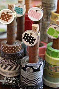Papercrafting Organization: Washi Tape-On Vintage Thread Spools