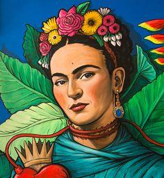 Frida Flowers Art Print by Ultrabit Designs - X-Small Kahlo Paintings, Frida Art, Abstract Face Art, Art Hub, Painting Inspiration, Art Sketches, Flower Art, Amazing Art, Fan Art