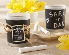 "#Rustic Wedding Favors The personalized perfect touch to your wedding! Use chalk to write guests' names or a special message. Kate Aspen has the ""chalkboard"" favor that shines!"