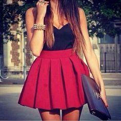 red skirt, black shirt