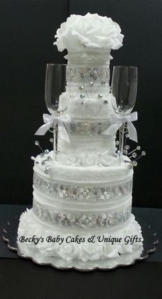 Wedding Towel Cake, Glitz Towel Cake,Bridal Gift, Wedding Centerpiece, Bridal Shower Gift, Bridal Centerpiece
