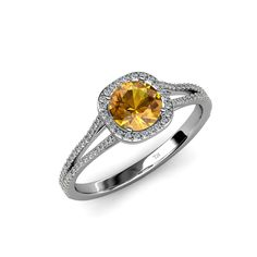 Citrine & Diamond (SI2-I1, G-H) Halo Engagement Ring 1.20 ct tw in 14K Gold #TriJewels #EngagementRing