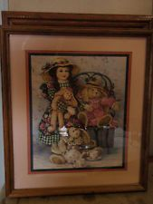 Home Interior by Barbara Mock Doll w plaid green dress & 3 rabbits having tea (R