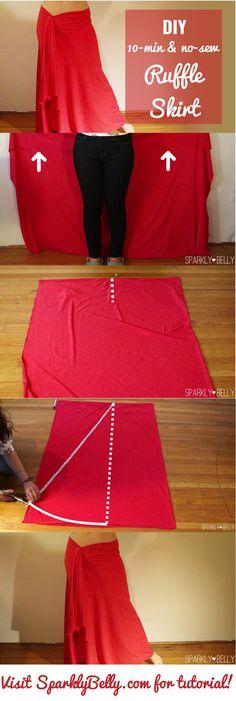 10 minute no sew ruffle skirt DIY (Diy Clothes Skirt)