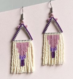 Purple Triangle with Gradual Purple Dangle Beaded Earrings Brick Stitch, Beaded Earrings, Craft Supplies, Create Yourself, Dangles, Etsy Seller, Etsy Shop, Beading Ideas, Unique Jewelry