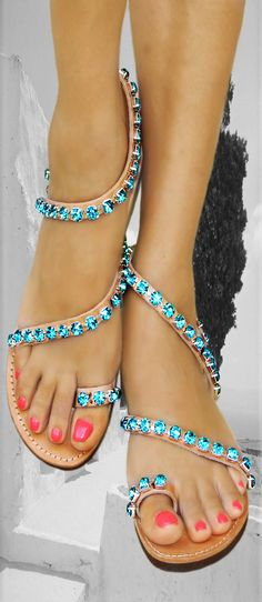 innovative greek sandals - Andromeda Swarovski Blue Zircon - flat sandal