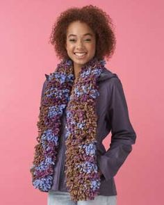 Fun and easy scarf in the exciting colors and textures of Bernat Gazoom.