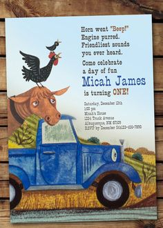 Little Blue Truck Invitation with or without photo