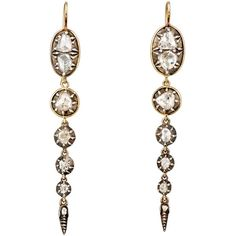 Renee Lewis Women's Antique Diamond Long-Drop Earrings ($32,000) ❤ liked on Polyvore featuring jewelry, earrings, colorless, antique diamond earrings, hook earrings, clear drop earrings, long diamond earrings and round earrings