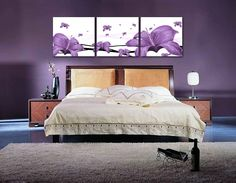 Amazon.com: Art Deco Modern Abstract Wall Art Painting On Canvas (no Framed) with The purple lily: Office Products