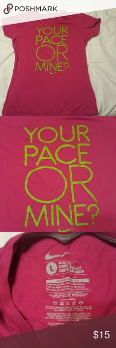 Nike Top Hot pink with green in used condition slim fit Nike Tops Tees - Short Sleeve