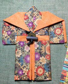 Miniature Kimono #008- Multicolor/Burnt Orange 6x7 inches
