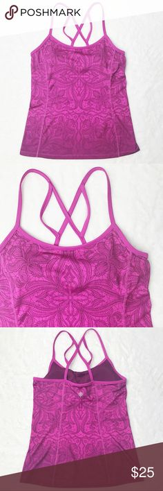 Athleta Exercise Ombre Printed Cami Cute and comfortable printed workout camisole with built in bra by Athleta.  Color: Ombre Magenta Body: 88% Polyester, 12% Lycra Spandex Bra: 93% Polyester, 7% Lycra Spandex Style #581305 EUC Reasonable offers accepted  Bundle likes to receive an offer :) Athleta Tops Camisoles