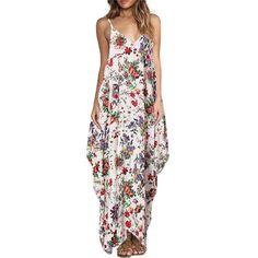 ZANZEA Boho Long Dress Women s Spaghetti Strap Backless Sexy Floral Print  Loose Sleeveless Maxi Beach Dresses Plus Size Vestidos 99ce307f5038