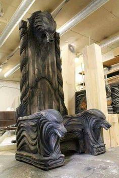 Scandinavian Viking Wolf Throne, Made in Finland.
