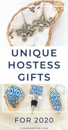 These unique hostess gifts are perfect for everyone.    The blue and white ikat design is a classic and everyone loves fleur de lis!   Gift them to your hostess and they will be gifts that will be remembered forever. Shell Jewelry, Jewelry Dish, Jewlery, Cheap Gifts, Diy Gifts, Handmade Gifts, Luxury Christmas Gifts, Christmas Decor, Guest Gifts