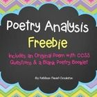 "Includes: -An original poem, as well as questions aligned to CCSS.  This is a sample for my ""Poetry Analysis Booklet"".   -A blanket template to use..."