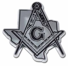 Texas Mason Square Compass Chrome Car Emblem