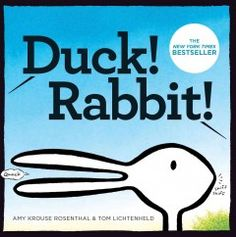 Monday, April 13, 2015. Two unseen characters argue about whether the creature they are looking at is a rabbit or a duck.