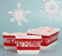 Red and white peppermint soap. Melt and pour soap recipe.