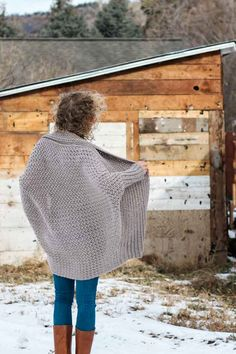 Beautiful! This bat-sleeved crochet sweater is made from a simple rectangle. Free beginner crochet sweater pattern and tutorial from Make and Do Crew.