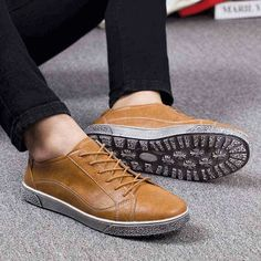 Men's #brown leather shoe #sneakers retro design, sewing thread, Lace up style, casual, leisure occasions.