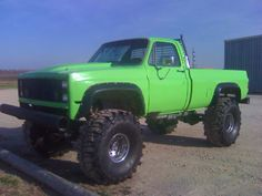 "80 somthin Chevy, 1/2 ton ""Mean-Green"", 3/4 ton axles out of a 68 5.37gears, four speed manual, hopped up 350, headers, series 40 Flowmasters, Cowl Hood, Bushwhacker Fender Flairs, like 15inches of lift, 44x 19.5 Super Swampers in 15inch wheels, bucket seats, center console,"