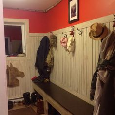 Mudroom opposite wall with storage in bench.....more decor to come