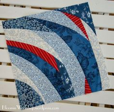 """Blue and red 12.5"""" free style quilt square 