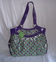 Vera Bradley Frill Bridge Tote Shoulder Bag Purple Green Floral Design NWT   VeraBradley  TotesShoppers 447fbc4509fa3