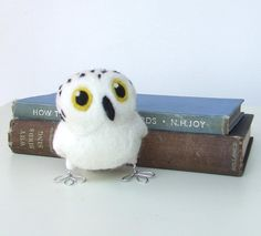 Needle Felted White Owl Tweet Hoot  Little Snowy Owl in Natural White
