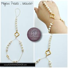 Romantic #pearl & #14k #gold-filled #harness #bracelet available at www.ALMAHANDMADE.com